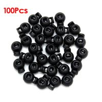 100 x Black Ball Cord Locks Toggles Round Cordlocks