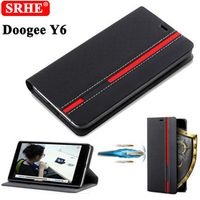 Doogee Y6 Case Flip Luxury Fashion Leather High Quality Back Cover For Doogee Y6C Y6 Piano black With Stand
