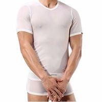 transparent mens sexy underwear shirt Short Sleeve Net Yarn Perspective undershirt brand clothing Tempt ondershirt A1