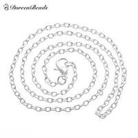 "DoreenBeads silver color Lobster Clasp Cable Link Necklaces Fashion Chain Necklaces 18"" 12pcs (B12716)"