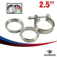 """PQY RACING- type 2.5"""" V Band clamp flange Kit Stainless Steel 201 For turbo exhaust"""