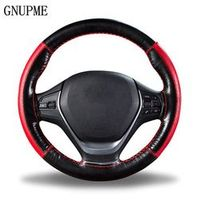 GNUPME DIY Braid on the Soft Genuine Leather Steering Wheel Cover 38cm Universal