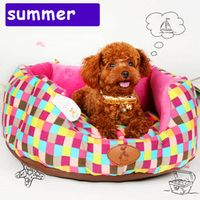 Wshable cute clolorful small round sofa dog bed mat House Kennel  winter Soft thick Fleece warm Pet Dog Cat princess teddy  Bed