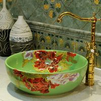 Glazed Art Counter Top ceramic bathroom sinks wash basin chinese porcelain ceramic sink basin for bath room