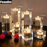 PEANDIM Home Decorations K9 Crystal Candle Holder
