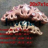 N24 -20x7x1cm Wood Carved Long Onlay Applique Unpainted Frame Door Decal Working carpenter Flower