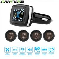 Onever Car Wireless Sensor Tire Pressure Monitoring Alarm System with LCD Display