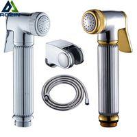 Chrome /Gold  Brass Bidet Hand Sprayer Head Toilet Shower Head Bidet Sprayer Head Plastic Bracket Holder Free Shipping