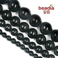 High Quality Wholesale 4MM 6MM 8MM 10MM Natural round Black tourmaline Loose Stone beads for charms bracelet DIY fashion Jewelry
