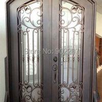 "Custom design 61.5"" x 96"" Eyebrow Arch Top Wrought Iron Entry Double Door Unit"
