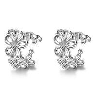 PATICO Vintage Silver Rose Gold Ear Cuff Punk Small Flower Hollow Charm Clip Earrings Best Cheap Jewelry For Women Men