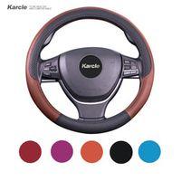 Karcle 38CM Steering-wheel Cover Microfiber Leather Steering Wheel Covers Non-slip