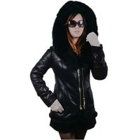 Factory direct supplier high end natural Genuine Leather fox mink fur collar hooded women's coat fashion Faux  jacket 6XL winter