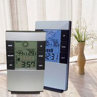 Inpelanyu Multifunctional Home Humidity Thermometer Clock Measurement Device LCD