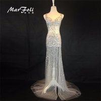 MarFoli Floor-Length BlingBling Beads Sexy Star full dress