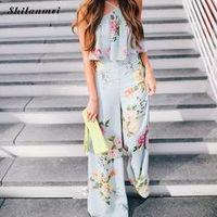 Bohemain women vintage halter floral jumpsuits