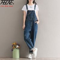 THHONE Jeans Women Jumpsuit Overalls Casual Long Trousers