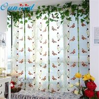 Ouneed 1pc Pastoral Tulle Window Roman Curtain Embroidered Sheer For Kitchen Living Room The Bedroom Window Screening*30 Drop