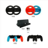 10 in 1 Switch Accessories Set, Steering Wheel Charging Dock Handle Grips for Nintend Switch Joy-Con NS N-Switch Console