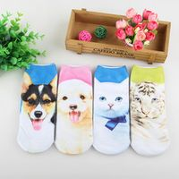 New dog 3D Print Animal Women Socks Casual cartoon Socks Unisex Low Cut Ankle Socks 4pairs/lot