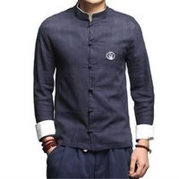 G-LIKE Chinese Style Retro Buckle Long Sleeve Tang Suit Tops Martial Arts Shirts