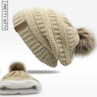 PRETTY KITTY Double layer winter hat for women beanies