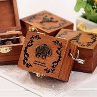 ZOOYOO 4 Songs Wood Music Box DIY Craft Vintage Gold Hand