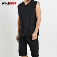 New Summer Vest Blouses White Color Single Breasted Sleeveless Male Martial Arts Shirts For Men Pocket Embellished Pure Tees