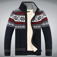 Size S -3XL 100% Cotton 2015 New Thicken Fleece Sweater Men Floral Pattern Cardigan Blusa Masculina Men't Clothing  A3043