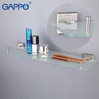 GAPPO Wall Mounted Bathroom Shelves Glass Double Layer Storage Bathroom