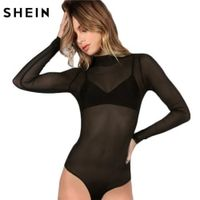 SHEIN Body Suits for Women Sexy Romper Black Mock Neck