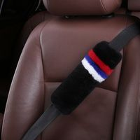 New Design Russia Flag Natural Comfort Auto Authentic Sheepskin Car Seat Belt Pads, Australia Wool Soft Texture Shoulder Cover