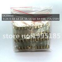 50pcs/set 10Values Fast Quick Blow Glass Tube Fuses Assortment Kit 5x20mm 0.2A 0.5A