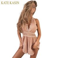 KATE KASIN Hollow Out Embroidery Jumpsuit Romper Women Sexy Backless V Neck Tassel Flower Short Overalls Summer Beach Playsuit