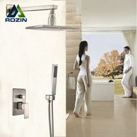 "rozin Brushed Nickel Wall Mount 12"" Square Rain Shower Faucet Tap Valve"
