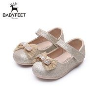 2017 Babyfeet Fashion Baby Girl Leather Shoes Princess Rhinestone Bling Bow Soft Anti-slip Cow Muscle Sole Breathable Summer