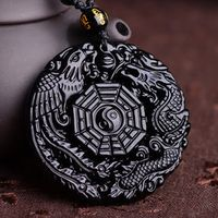Natural Black Obsidian Hand Carved Chinese Dragon Phoenix BaGua Lucky Amulet Pendant Free Necklace Fashion Fine Jade Jewelry