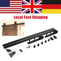 1 Set Barn Sliding Wood Door Hardware Set Steel Slide Rail Antique Track System Black High Quality
