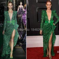 ph17117 Zuhair Murad Spring 2017 Couture Celine Dion Grammy Awards emerald green plunging neckline Zuhair Murad gown evening