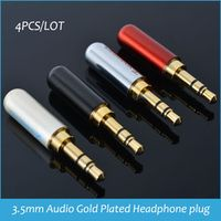 3 poles 3.5mm Audio Gold-Plated headphone 3.5 RCA Connector plug jack Stereo 4pcs