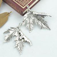10pcs vintage tibetan silver charms diy metal maple leaf pendants for necklace&bracelets jewelry making supplies 55*47mm 2136