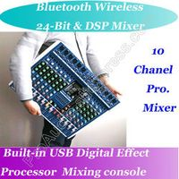 MICWL 10 Way Wireless Bluetooth USB 24BIT DSP 48V Phantom Power Mic Mixing Console