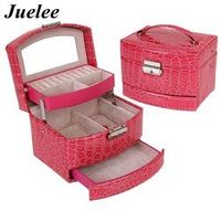 Juelee High Grade  Crocodile Print Jewelry Display Box 3 Layers Ring Necklace Jewelry Case Lady Gift Home Storage Supplies