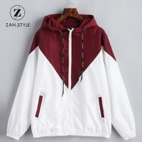 ZAN.STYLE Spring Autumn Hooded Two Tone Windbreaker Jacket
