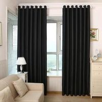 Classical Pure Black Shading Window Blackout Polyester Curtain For Bedroom Living Room