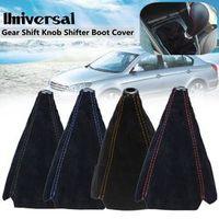 Auzan Universal Car Gear Shift Collars Suede PU Leather Gear Stick Shift Shifter Knob