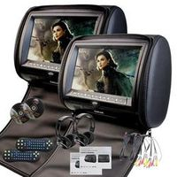 EinCar Black 2 X Twin Car headrest DVD player 9 inch HD Touch Screen with FM 32 Bits