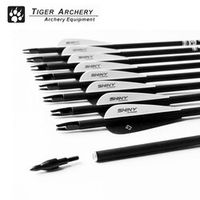 TIGERARCHERY 12pcs Carbon Arrow Spine500 with Black Feather for Recurve Bow
