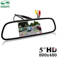 """GreenYi 5"""" Digital Color TFT 800*480 LCD Car Parking Mirror Monitor 2 Video Input For Rear view Camera Parking Assistance System"""