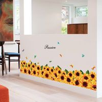colormood sunflower skirting line wall stickers decals home